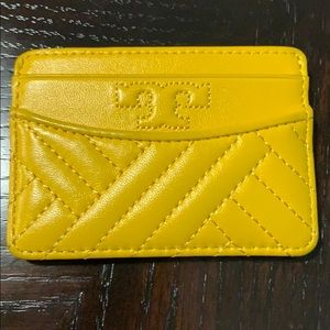 Tory Burch yellow leather quilted card holder